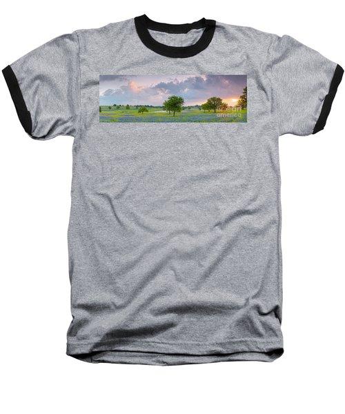 Sun Rising Over A Bluebonnet Field In Chappel Hill - Washington County Brenham Texas Baseball T-Shirt