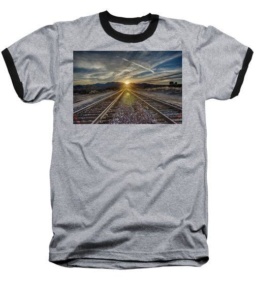 Sun Sets At The End Of The Line Baseball T-Shirt