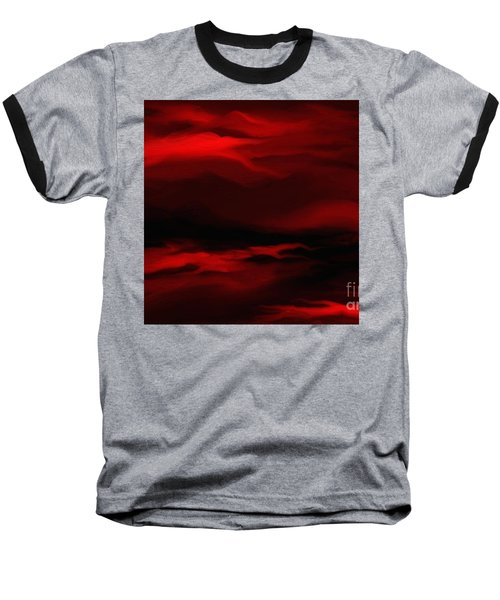 Baseball T-Shirt featuring the painting Sun Sets In Red by Rushan Ruzaick