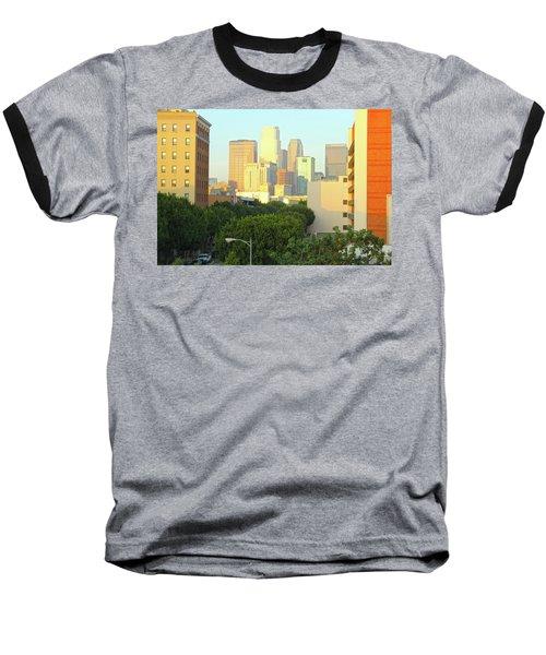 Sun Sets On Downtown Los Angeles Buildings #1 Baseball T-Shirt