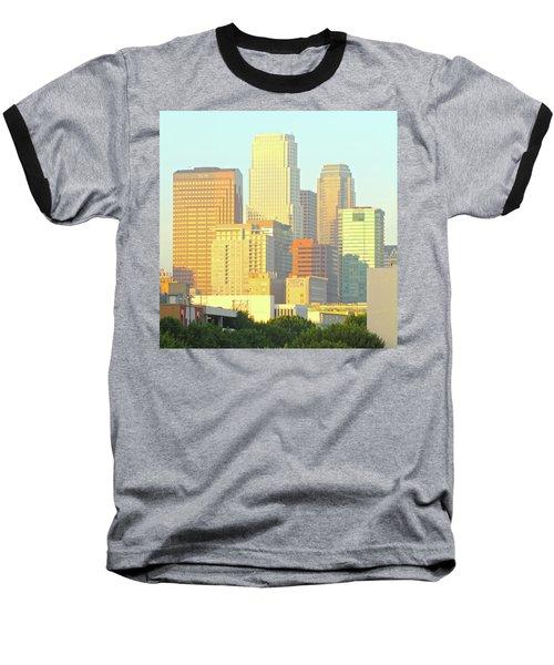 Sun Sets On Downtown Los Angeles Buildings #2 Baseball T-Shirt
