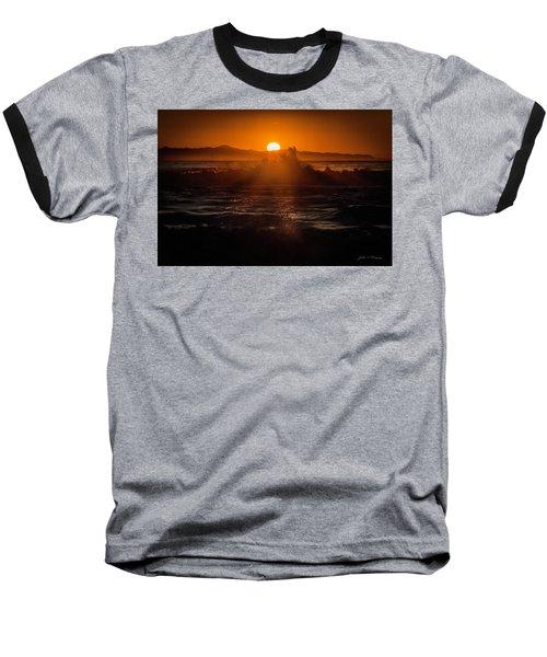 Baseball T-Shirt featuring the photograph Sun Setting Behind Santa Cruz Island by John A Rodriguez