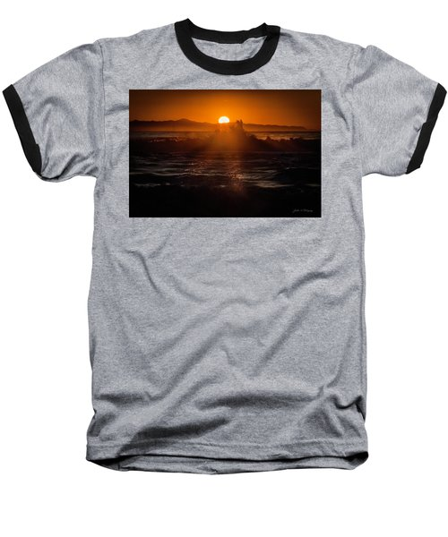Sun Setting Behind Santa Cruz Island Baseball T-Shirt