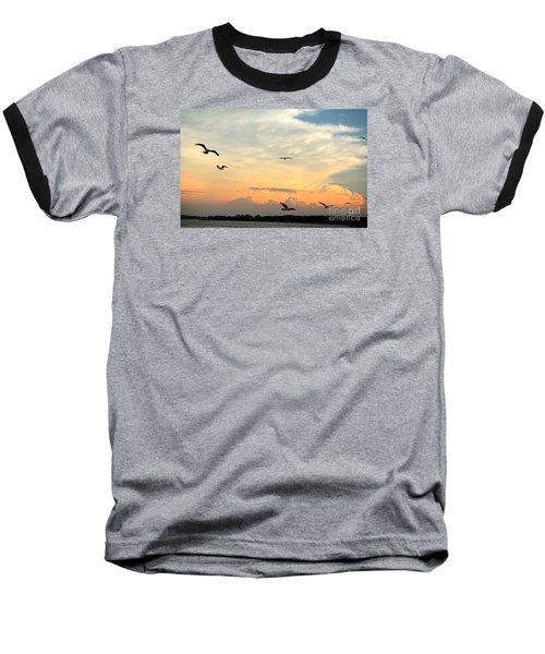 Sun Setting Over The Lake   Baseball T-Shirt by Yumi Johnson