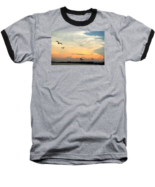 Sun Setting Over The Lake   Baseball T-Shirt