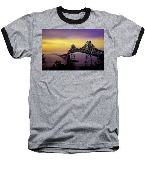 Sun Setting Through The Fog Baseball T-Shirt