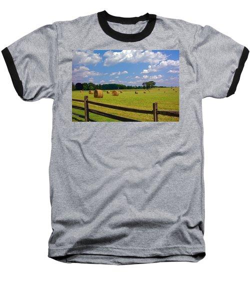 Baseball T-Shirt featuring the photograph Sun Shone Hay Made by Byron Varvarigos