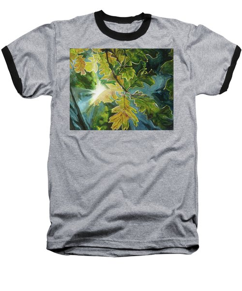 Sun Through Oak Leaves Baseball T-Shirt