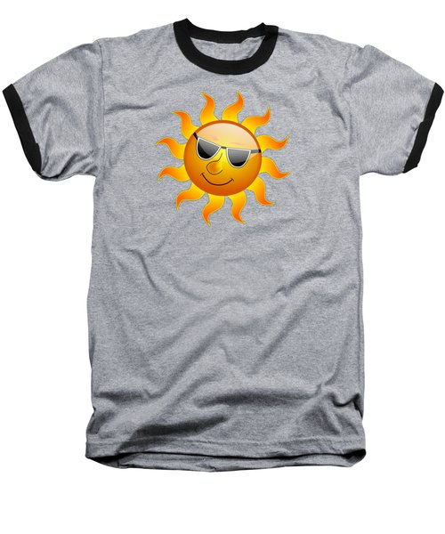 Baseball T-Shirt featuring the digital art Sun With Sunglasses by Movie Poster Prints