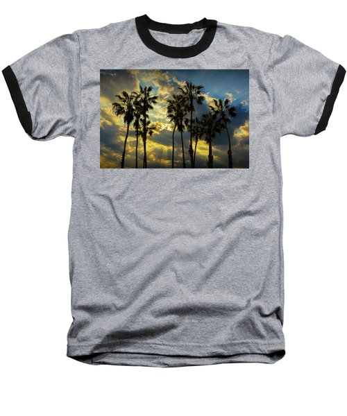 Baseball T-Shirt featuring the photograph Sunbeams And Palm Trees By Cabrillo Beach by Randall Nyhof