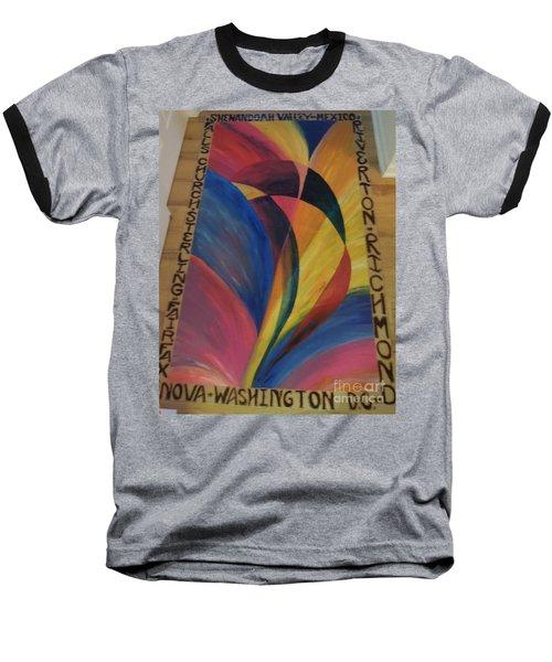 Sunburst Floorcloth Baseball T-Shirt by Judith Espinoza