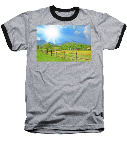 Sunburst Over Peaks Of Otter, Virginia Baseball T-Shirt