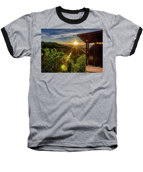 Sunburst View From Dellas Boutique Hotel Near Meteora In Kastraki, Kalambaka, Greece Baseball T-Shirt