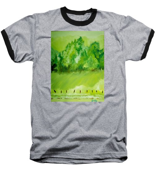 Baseball T-Shirt featuring the painting Sunday At Two Thirty by Seth Weaver