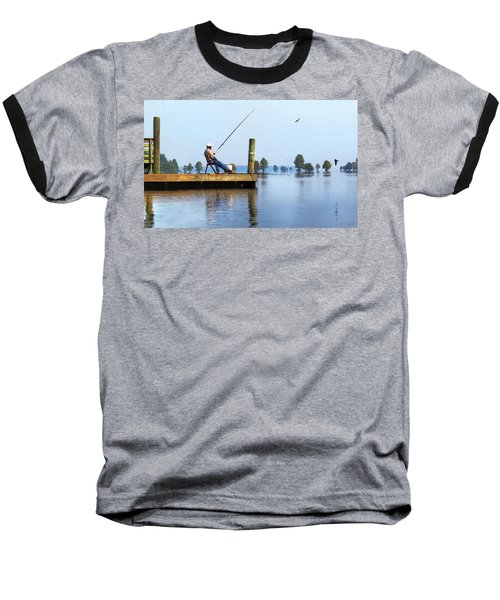 Sunday Fisherman Baseball T-Shirt by Deborah Smith