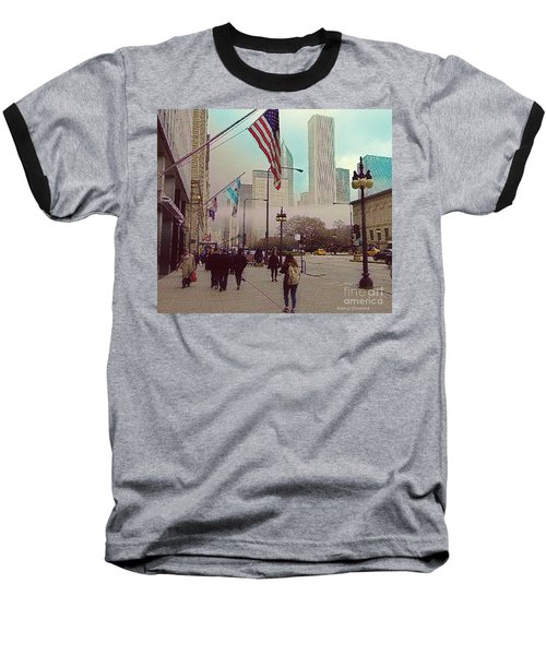 Sunday In The City Baseball T-Shirt by Kathie Chicoine