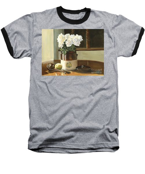 Baseball T-Shirt featuring the painting Sunday Morning And Roses - Study by Marlene Book