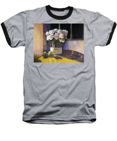 Baseball T-Shirt featuring the painting Sunday Morning And Roses Redux by Marlene Book