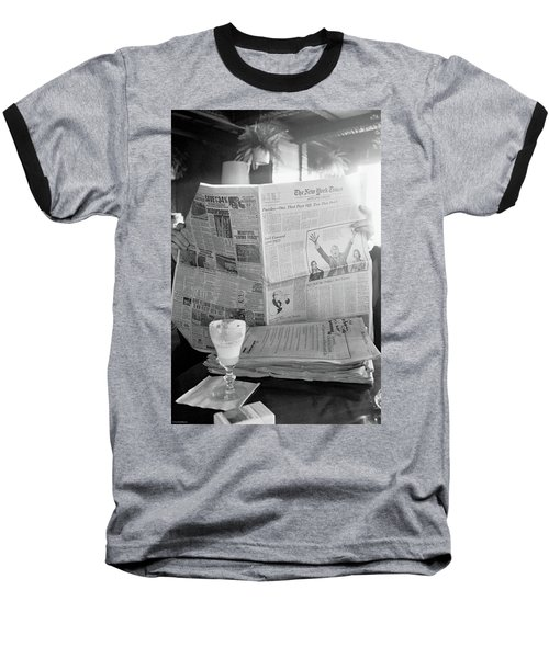Baseball T-Shirt featuring the photograph Sunday Times And Irish Coffee by Frank DiMarco