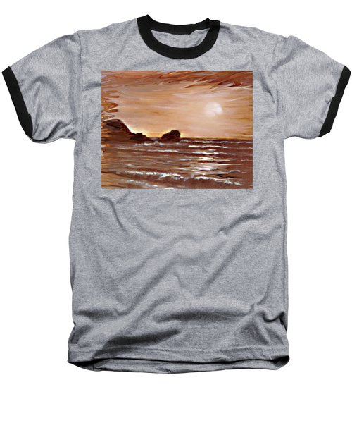 Baseball T-Shirt featuring the painting Sundown Glow by Desline Vitto