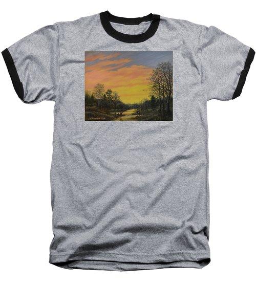 Baseball T-Shirt featuring the painting Sundown Glow by Kathleen McDermott