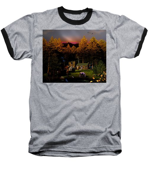 Sundown In The Rockies Baseball T-Shirt by J Griff Griffin