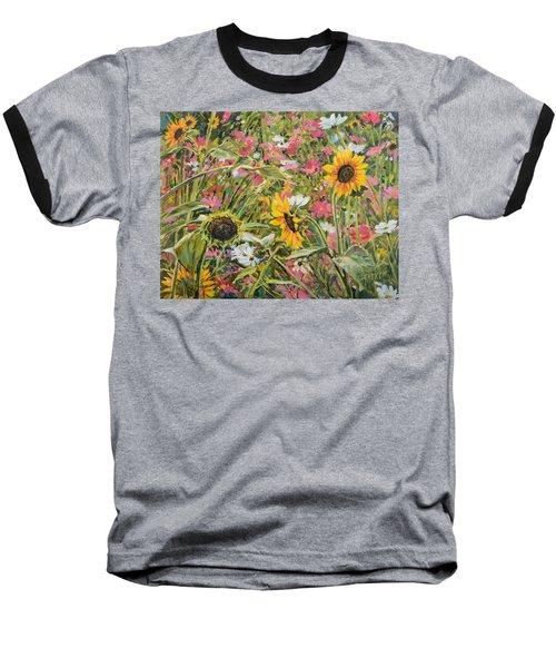 Sunflower And Cosmos Baseball T-Shirt by Steve Spencer