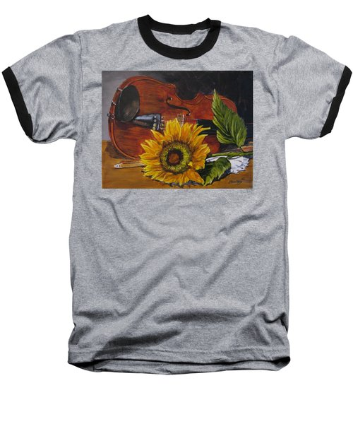 Sunflower And Violin Baseball T-Shirt
