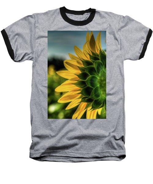 Sunflower Blooming Detailed Baseball T-Shirt