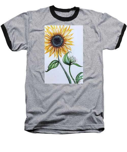 Sunflower Botanical Baseball T-Shirt by Elizabeth Robinette Tyndall