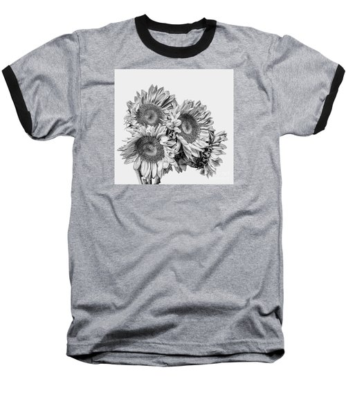 Baseball T-Shirt featuring the photograph Sunflower Bouquet Bw by Shirley Mangini