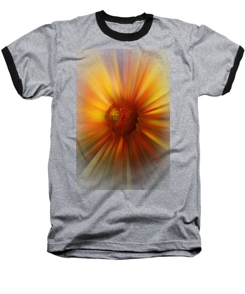 Sunflower Dawn Zoom Baseball T-Shirt by Debra and Dave Vanderlaan