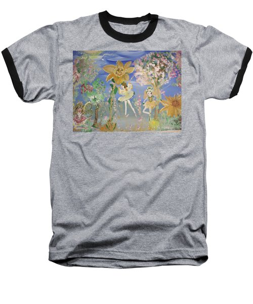 Sunflower Fairies Baseball T-Shirt by Judith Desrosiers