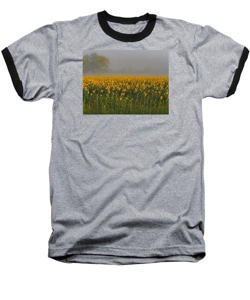 Sunflower Field On A Foggy Morn Baseball T-Shirt