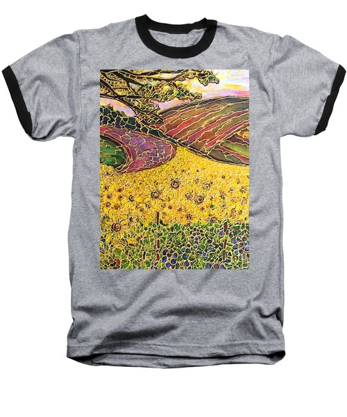 Baseball T-Shirt featuring the painting Sunflower Fields by Rae Chichilnitsky