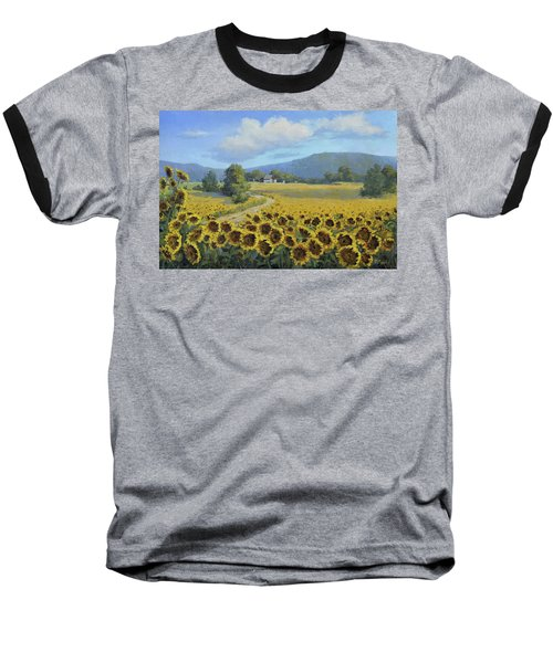 Sunflower Fields Baseball T-Shirt