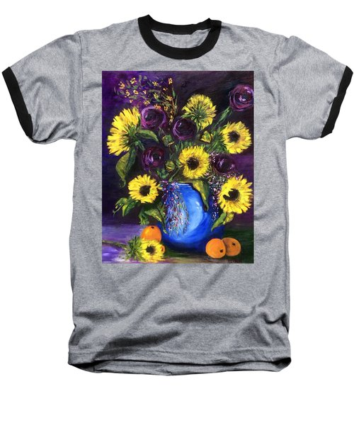 Baseball T-Shirt featuring the painting Sunflower Frenzy by Patti Ferron