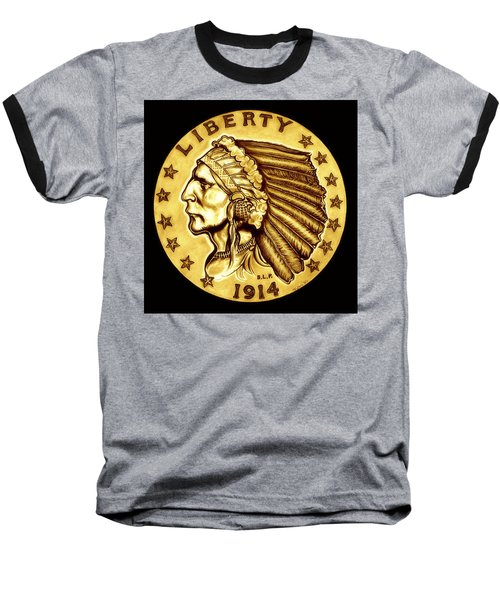 Sunflower Gold Quarter Eagle Baseball T-Shirt by Fred Larucci