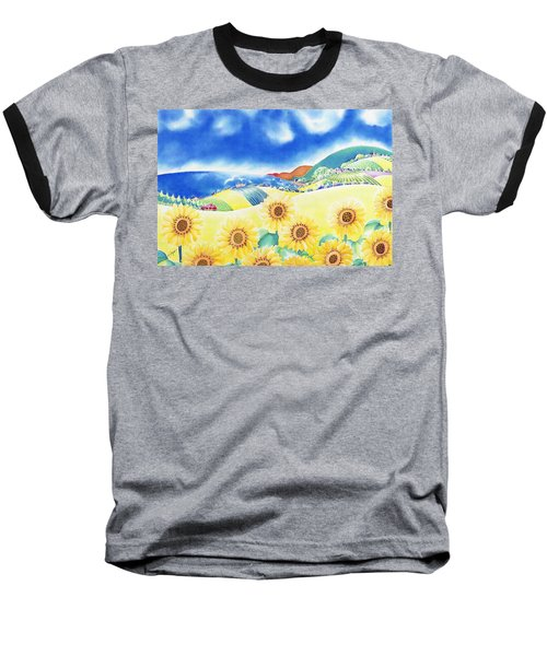 Baseball T-Shirt featuring the painting Sunflower Hills by Hisayo Ohta