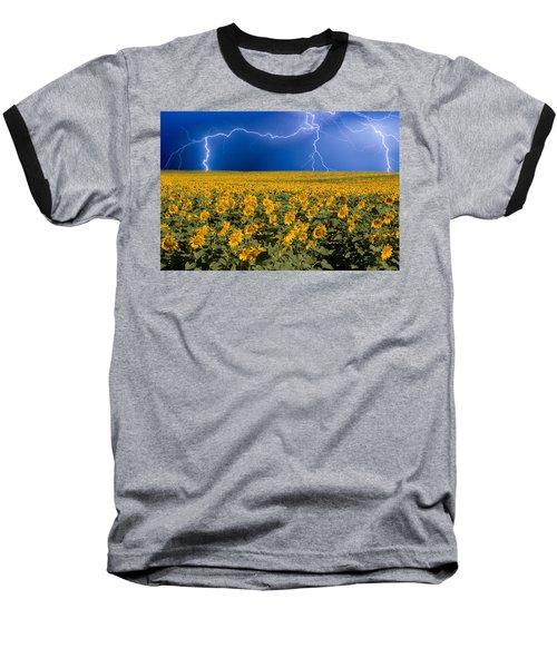 Sunflower Lightning Field  Baseball T-Shirt