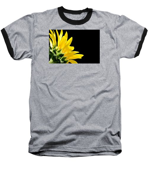 Sunflower On Black Baseball T-Shirt