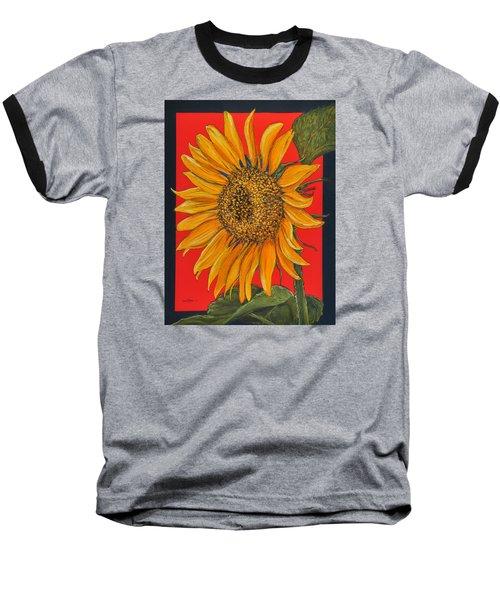 Da153 Sunflower On Red By Daniel Adams Baseball T-Shirt