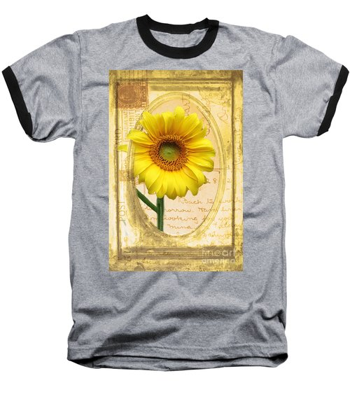 Sunflower On Vintage Postcard Baseball T-Shirt by Nina Silver