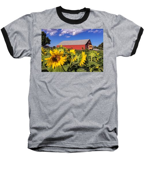 Sunflower Red Barn Baseball T-Shirt