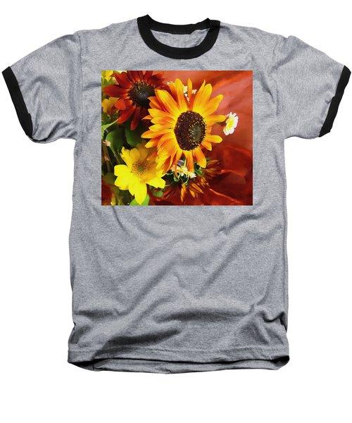 Sunflower Strong Baseball T-Shirt by Kathy Bassett