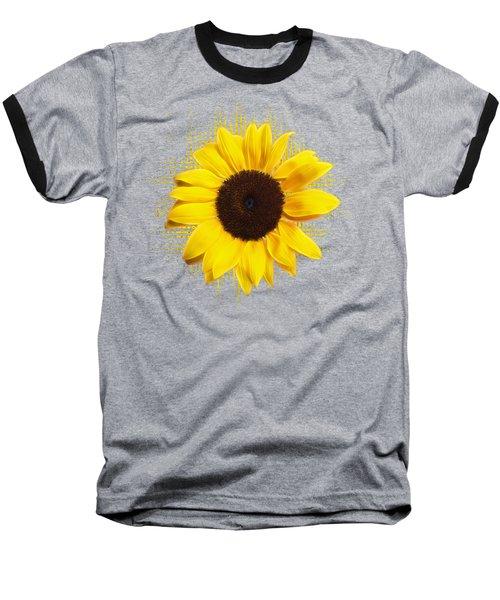 Sunflower Sunburst Baseball T-Shirt by Gill Billington
