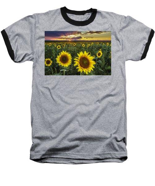 Baseball T-Shirt featuring the photograph Sunflower Sunset by Kristal Kraft