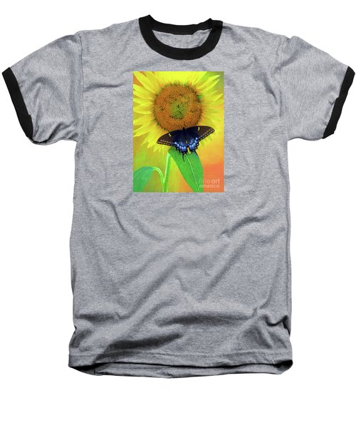 Sunflower With Company Baseball T-Shirt by Marion Johnson