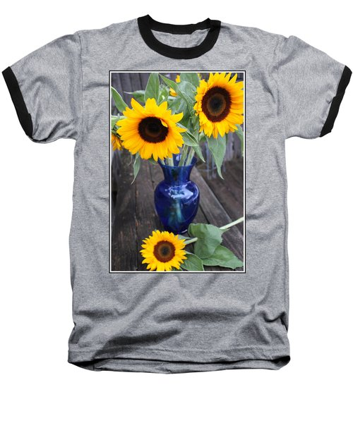 Sunflowers And Blue Vase - Still Life Baseball T-Shirt by Dora Sofia Caputo Photographic Art and Design