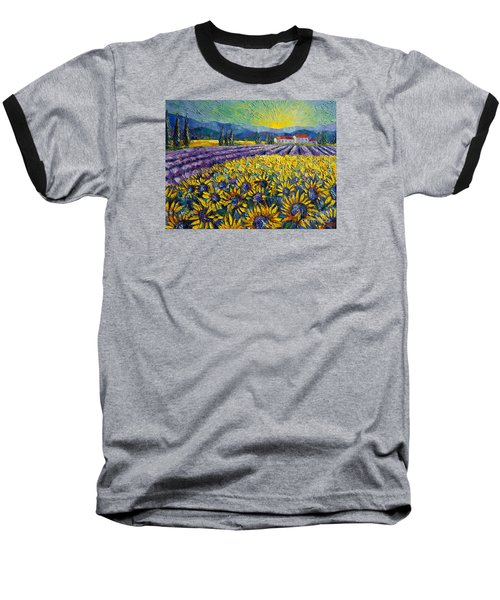 Sunflowers And Lavender Field - The Colors Of Provence Modern Impressionist Palette Knife Painting Baseball T-Shirt